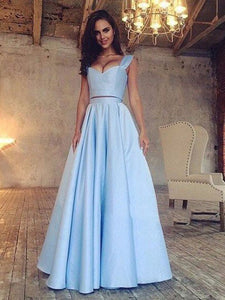 Two Piece Prom Dress Modest Beautiful Simple Cheap Long Prom Dress #VB1702