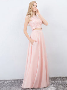 Two Piece Chiffon Prom Dress Modest Beautiful Pink Cheap Long Prom Dress #VB1712