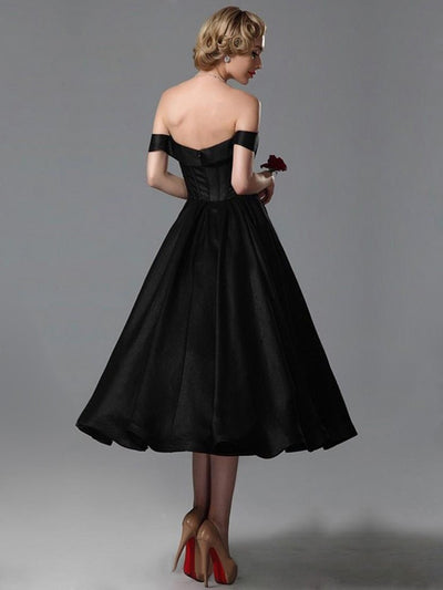 A-line Black Homecoming Dress Off The Shoulder Simple Cheap Homecoming Dress # VB1718