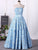 Chic A Line Prom Dress Strapless Blue Cheap Long Prom Dress #VB1723