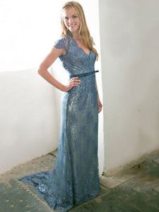 Chic V Neck Prom Dress Lace Simple Long Cheap Prom Dress #VB1724