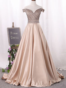 Off The Shoulder Prom Dress Modest Champagne Cheap Long Prom Dress #VB1725