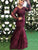 Mermaid Burgundy Prom Dress Modest Cheap Lace Long Prom Dress #VB1731