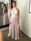 A Line Chiffon Prom Dress Modest Lace Cheap Long Simple Prom Dress #VB1736