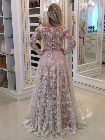 Chic A Line Wedding Dress With Sleeves Cheap Lace Long Wedding Dress #VB1740