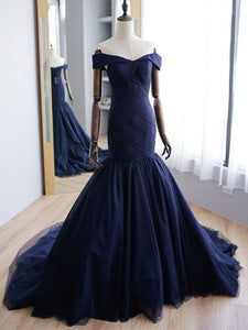 Mermaid Prom Dress Modest  Off The Shoulder  Cheap Long Prom Dress #VB1744