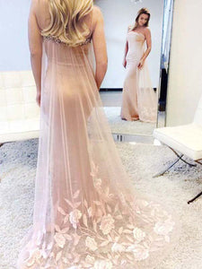 Mermaid Prom Dress Modest Pink Lace Cheap Long Prom Dress #VB1745
