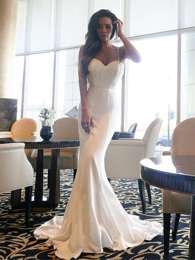 2018 Mermaid Wedding Dress Simple Long Cheap Wedding Dress # VB1746 - DemiDress.com