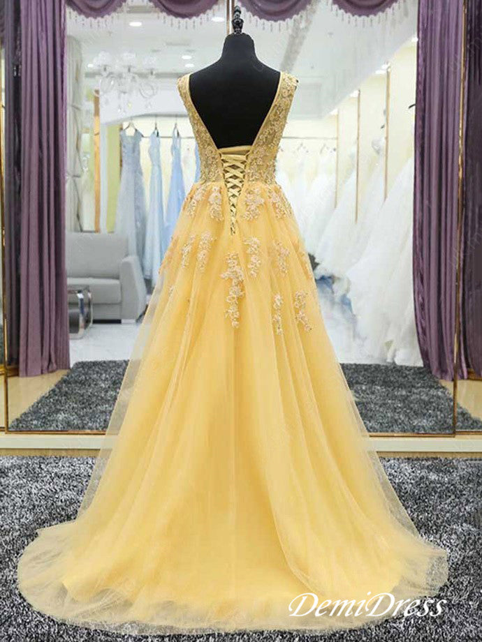 2018 A Line V Neck Prom Dress Modest Cheap Long Yellow Prom Dress #VB1751