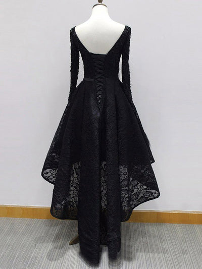 Chic A Line Prom Dress Modest Black Lace Cheap Long Prom Dress #VB1753
