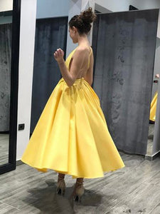 A-line Yellow Homecoming Dress V Neck Simple Cheap Homecoming Dress # VB1757