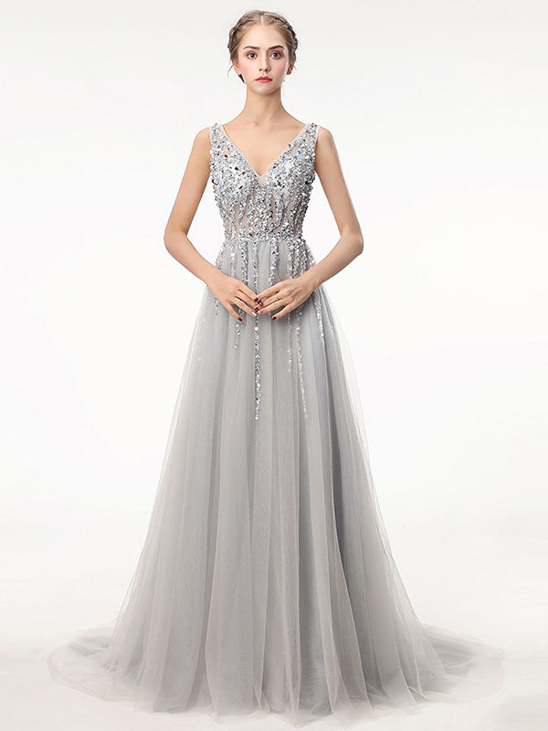 2018 A Line Silver Prom Dress Modest Beautiful Cheap Long