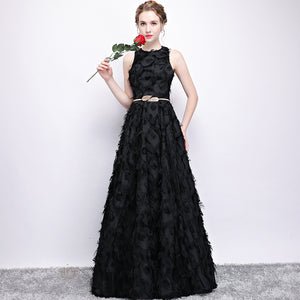 Chic A Line Prom Dress Modest Unique Black Long Prom Dress #VB1765