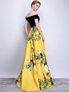 Chic A Line Yellow Prom Dress Modest Beautiful Floral Cheap Long Prom Dress #VB1766