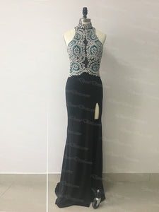 2018 Sheath Black Prom Dress Modest Cheap Long Prom Dress #VB1766 - DemiDress.com
