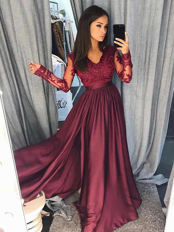 Burgundy Vintage Prom Dress Modest Cheap Lace Long Prom Dress