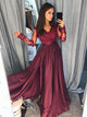 Burgundy Vintage Prom Dress Modest Cheap Lace Long Prom Dress #VB1808