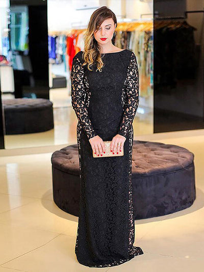 Chic Black Lace Prom Dress Modest Cheap Simple Long Prom Dress #VB1814