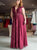 Burgundy Chic Lace Prom Dress Modest Cheap Chiffon Long Prom Dress #VB1816