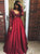 Burgundy Vintage Prom Dress Modest Cheap Lace Long Prom Dress #VB1818