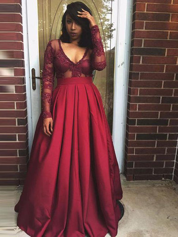 26d0a5fe3f4 Burgundy Vintage Prom Dress Modest Cheap Lace Long Prom Dress  VB1818