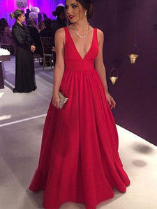 A Line Red Prom Dress Modest Beautiful Simple Cheap Long Prom Dress #VB1820