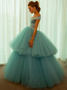 Ball Gown Prom Dress Modest Off The Shoulder Cheap Long Prom Dress #VB1821