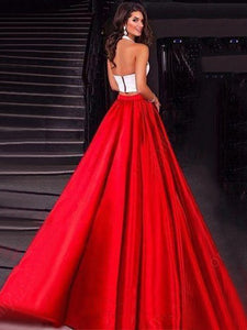 Two Piece Prom Dress Modest Beautiful Cheap Red Long Prom Dress #VB1823