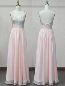 Chic A Line Prom Dress Modest Beautiful Cheap Long Pink Prom Dress #VB1825