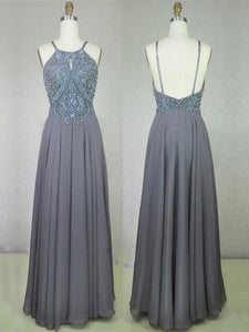 Chic A Line Prom Dress Modest Beautiful Cheap Long Silver Prom Dress #VB1826