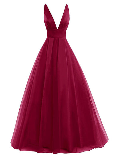 A Line Burgundy Prom Dress Modest Beautiful Simple Cheap Long Prom Dress #VB1830