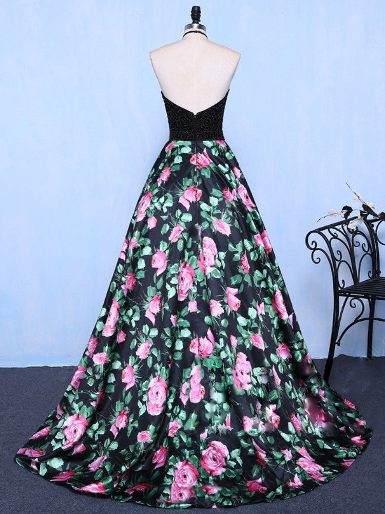 286b7a2a13 Chic A Line Prom Dress Modest Beautiful Floral Cheap Long Black Prom Dress   VB1832