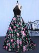 Chic A Line Prom Dress Modest Beautiful Floral Cheap Long Black Prom Dress #VB1832