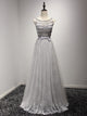 A Line Silver Prom Dress Modest Cheap Simple Cheap Long Prom Dress #VB1834