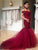 Mermaid Burgundy Prom Dress Modest Beautiful Lace Long Prom Dress #VB1836