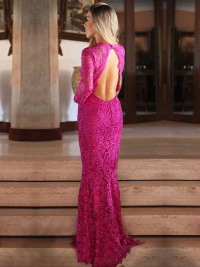 2018 Mermaid Prom Dress Modest Beautiful Lace Long Prom Dress #VB1840 - DemiDress.com