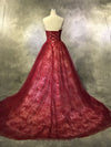 A Line Burgundy Prom Dress Modest Beautiful Cheap Long Lace Prom Dress #VB1843