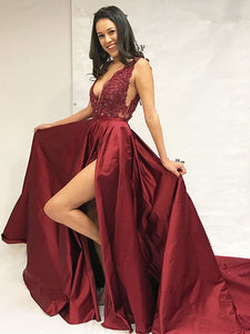A Line Burgundy Prom Dress Modest Beautiful Cheap Long Lace Prom Dress #VB1856