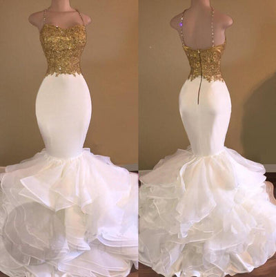 2018 Mermaid Prom Dress White And Gold Sexy Prom Dress #VB1857 - DemiDress.com