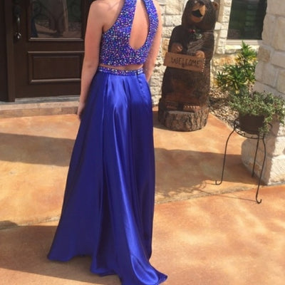 2018 Two Piece Prom Dress Modest Beautiful Cheap Long Prom Dress #VB1862 - DemiDress.com