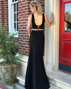 Mermaid Two Piece Prom Dress Modest Beautiful Black Long Prom Dress #VB1864