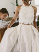 Two Piece Wedding Dress Plus Size Lace Vintage Wedding Dress # VB1867