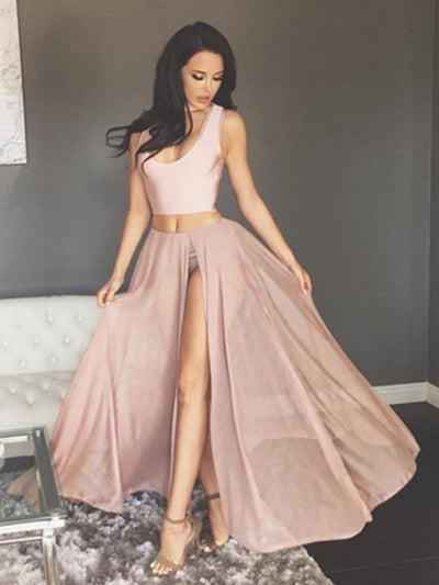2018 Two Piece Prom Dress Modest Beautiful Cheap Long Prom Dress
