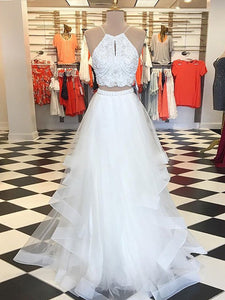 2018 Two Piece Prom Dress Modest Beautiful Cheap Long Prom Dress #VB1873 - DemiDress.com