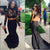 Mermaid Two Piece Prom Dress Modest Beautiful Black Long Prom Dress #VB1874