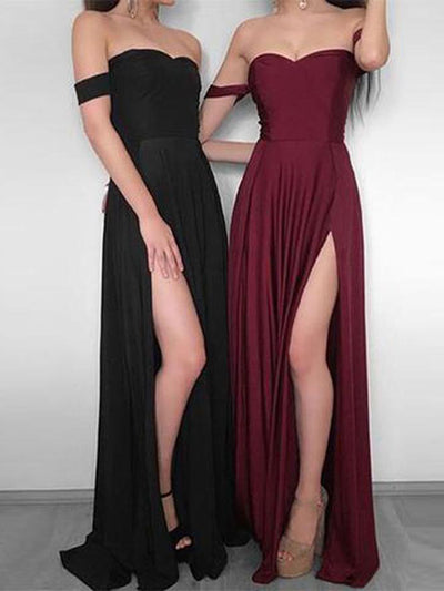 Burgundy Off The Shoulder Prom Dress Modest Beautiful Cheap Long Prom Dress #VB1877