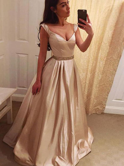 A Line Prom Dress Modest Beautiful Simple Cheap Long Prom Dress #VB1880