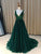 Green V Neck Prom Dress Modest Long Tulle Prom Dress #VB1886
