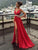 Red V Neck Prom Dress Modest Cheap Simple Long Prom Dress #VB1895