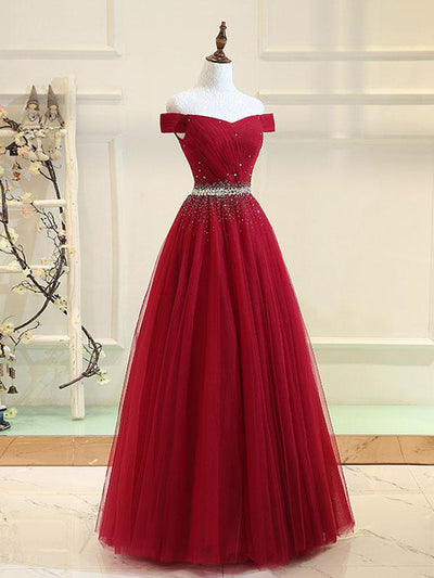 Burgundy Off The Shoulder Prom Dress Modest Cheap Long Prom Dress #VB1901